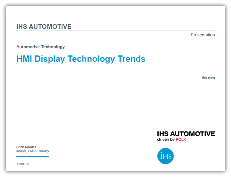 Automotive Display Technology Trends IHS PPT