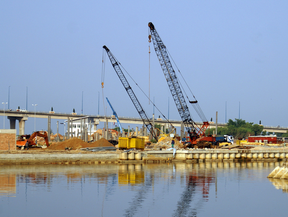 Cranes on the river in Melaka, Malaysia