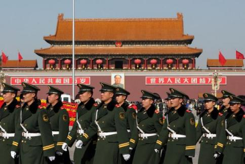 PLA Chinese soldiers on parade
