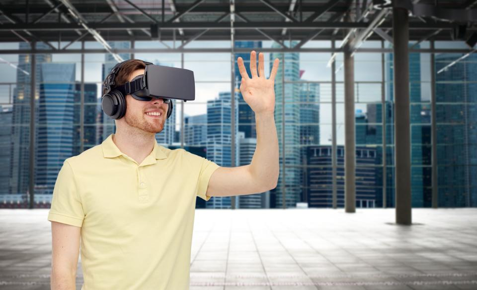 3d technology, virtual reality, entertainment and people concept