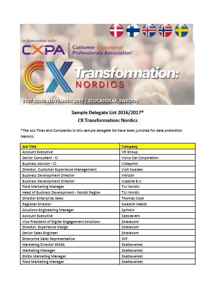 CX attendee list