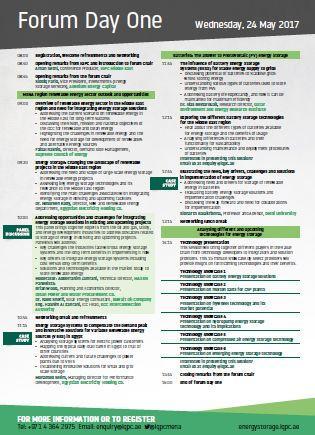 Energy Storage - Agenda at a glance